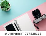top view of travel accessories... | Shutterstock . vector #717828118