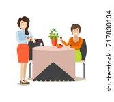 restaurant guest illustration....   Shutterstock . vector #717830134