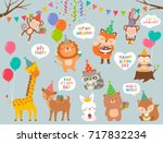 set of cute cartoon wildlife... | Shutterstock .eps vector #717832234