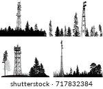 illustration with antenna tower ... | Shutterstock .eps vector #717832384