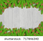 fir tree branches with cones... | Shutterstock .eps vector #717846340