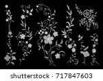 set of white lace. traditional... | Shutterstock .eps vector #717847603