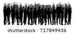 isolated silhouette of a crowd ... | Shutterstock . vector #717849436