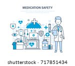 medication safety. modern... | Shutterstock . vector #717851434