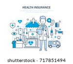 health insurance concept. life... | Shutterstock . vector #717851494