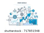 high goals concept. achievement ... | Shutterstock . vector #717851548