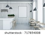 white wooden bar interior with... | Shutterstock . vector #717854008