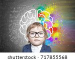 close up portrait of a cute... | Shutterstock . vector #717855568