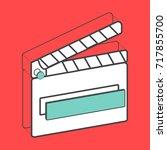 illustrative movie slate...   Shutterstock .eps vector #717855700
