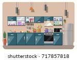 kitchen interior  with table ... | Shutterstock .eps vector #717857818