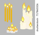 candle with fire animation big... | Shutterstock .eps vector #717863326
