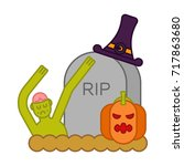 zombie and grave and pumpkin.... | Shutterstock .eps vector #717863680