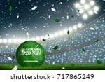 crowed of fan in football... | Shutterstock .eps vector #717865249