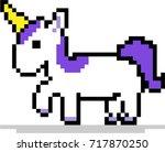 purple unicorn pixel art  8 bit ... | Shutterstock .eps vector #717870250