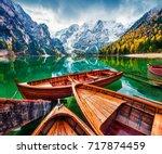 pleasure boats on braies... | Shutterstock . vector #717874459