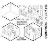 isometric living room interior... | Shutterstock .eps vector #717875158