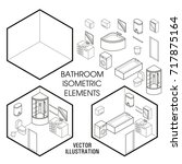 isometric bathroom interior... | Shutterstock .eps vector #717875164