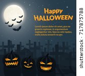 halloween poster. burning... | Shutterstock .eps vector #717875788