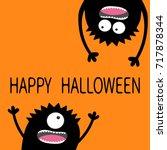 two black screaming monster...   Shutterstock . vector #717878344