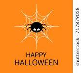 happy halloween.spider on the... | Shutterstock . vector #717879028