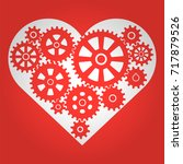 heart with gears. romantic... | Shutterstock .eps vector #717879526