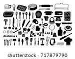 baking tools and essentials.... | Shutterstock .eps vector #717879790