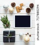 elegant nordic retro christmas... | Shutterstock . vector #717880294