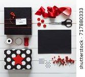 elegant nordic retro christmas  ... | Shutterstock . vector #717880333