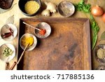 indian food ingredients and... | Shutterstock . vector #717885136