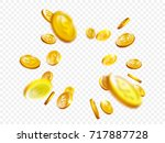gold coin splash background.... | Shutterstock .eps vector #717887728