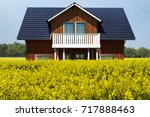 swedish wooden house  3d... | Shutterstock . vector #717888463