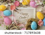 colorful easter eggs and spring ... | Shutterstock . vector #717893638