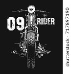 vintage motorcycle hand drawn... | Shutterstock .eps vector #717897190