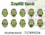 zombie emoji symbols set. green ... | Shutterstock .eps vector #717899236