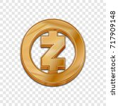 golden zcash coin symbol... | Shutterstock .eps vector #717909148