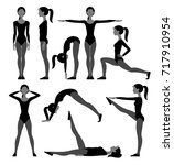 silhouette set of slim girl in... | Shutterstock . vector #717910954