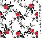 seamless floral pattern...   Shutterstock . vector #717913786