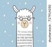 cute vector alpaca print | Shutterstock .eps vector #717914350