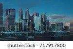 futuristic skyscrapers in the... | Shutterstock . vector #717917800