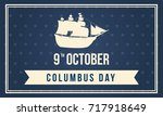 columbus day design background...   Shutterstock .eps vector #717918649