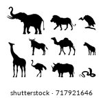 collection of black silhouettes ... | Shutterstock .eps vector #717921646