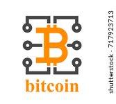 bitcoin electronic circuit... | Shutterstock .eps vector #717923713
