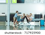 side view of parents and kids... | Shutterstock . vector #717925900