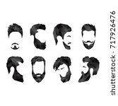 set of different faces with...   Shutterstock .eps vector #717926476