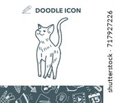 cat doodle drawing   Shutterstock .eps vector #717927226