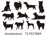 dog new year's card silhouette... | Shutterstock .eps vector #717927889