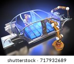 3d rendering  car frame and... | Shutterstock . vector #717932689