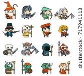 lineart fantasy rpg game heroes ... | Shutterstock .eps vector #717941113