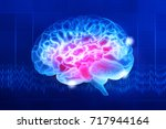 human brain on a dark blue... | Shutterstock . vector #717944164