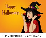 halloween. beautiful woman in... | Shutterstock .eps vector #717946240